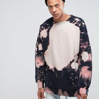 Mennace Dropped Shoulder Sweatshirt With Bleached Out Print at asos.com