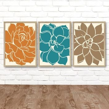 Succulent Flower Wall Art, Flower Kitchen Wall Decor, Flower Bedroom Pictures, CANVAS or Print, Teal Orange Brown Bathroom Decor, Set of 3