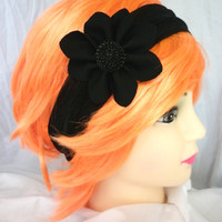 FREE SHIPPING Black Lace Flower Headband Ear Warmer Turband Style Exclusive Cozy Pinterest Favorite Women's Crochet Fashion Hair Accessories