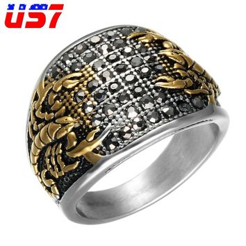 US7 Vintage Finger Scorpion ring men Cool Heavy Stainless Steel CZ Micro Pave Eagle wedding Rings For Men women Jewelry Gift