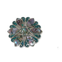 Taxco Mexico Sterling Silver Abalone Turquoise Brooch Pendant Signed Beto
