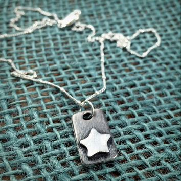 Fine Silver Star Necklace - Sterling Silver Star Pendant - Oxidized Silver Necklace  - Jewelry Graduation Gift for Her - Shoot for the Stars
