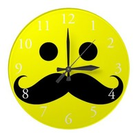 Wall Clock Funny Mustache Smiley Face from Zazzle.com