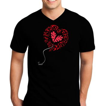 Broken Heart Popped Red Heart Balloon Adult Dark V-Neck T-Shirt