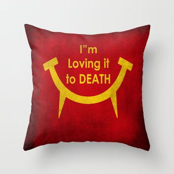 McViper the zombie an vampire food chain, Bloody good food is our motto! Throw Pillow by Bruce Stanfield | Society6