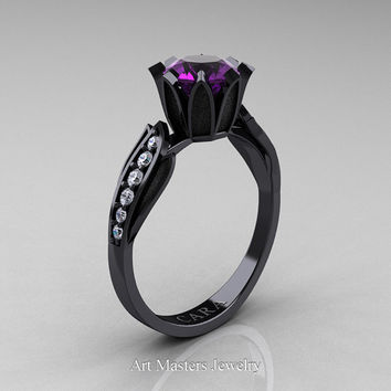 Cara 14K Black Gold 1.0 Ct Amethyst White Diamond Solitaire Ring R423-14KBGDAM