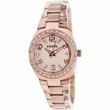 Glitz Rose-Gold Stainless-Steel Fossil Watch For Women