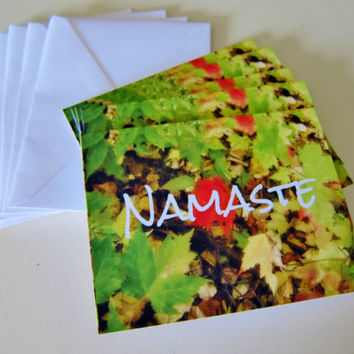 Blank Greeting Cards with Envelopes Set of 5 - Namaste Yoga Blank Photo Cards -  Original Art Cards - Yoga Cards Yoga Gifts Note Card Set