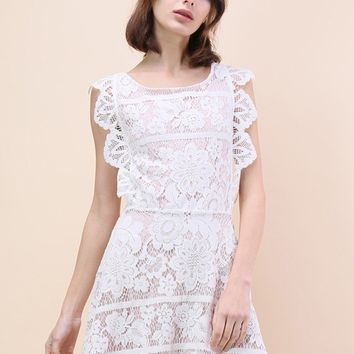 Endearing Lace Cross Back Dress in White
