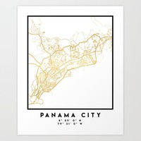 PANAMA CITY STREET MAP ART Art Print by deificusart