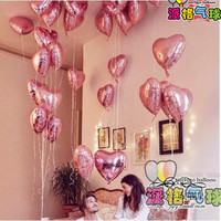 10pcs/lot 18inch Pearl pink Love Heart Foil Helium Balloons Wedding Birthday Party decorations i love you new year balloon