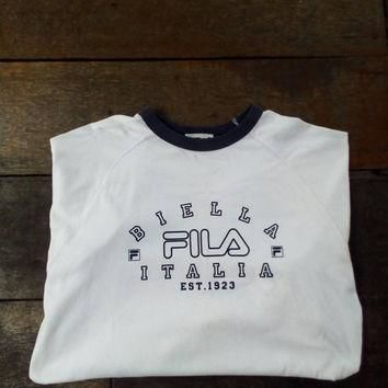 Fila Biella italia est 1923 tees T-shirt Big Logo vintage fila sport wear design for s