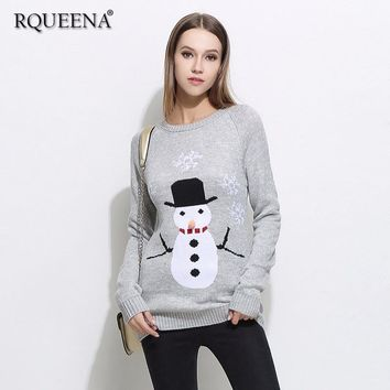 Womens Clothing Autumn 2018 Winter Clothes Ugly Christmas Sweater Women Long Sleeve Round Neck Thick Knitted Women Sweaters
