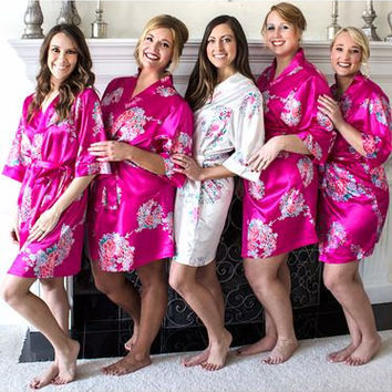 Floral Satin Robes, Bridal Robe, Personalized Robe, Bride Robes, Embroidered Robes, Bridesmaid Gifts, Bridal Shower Gift, Silk Wedding Robes