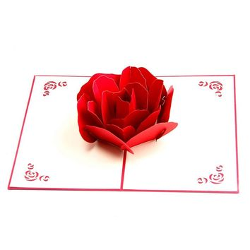 3D Pop up Rose Thank You Greeting Postcards Flower Handmade Blank Vintage Paper Happy Birthday Love Gift Card