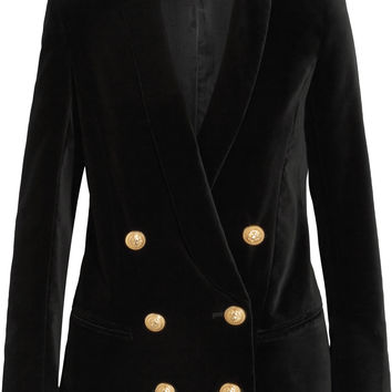Balmain - Double-breasted velvet blazer