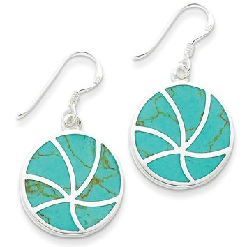 Round Turquoise Inlay Dangle Earrings in Sterling Silver
