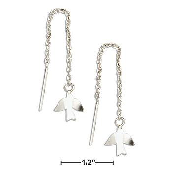 Sterling Silver Earrings:  Bird Dove Ear Thread Earrings