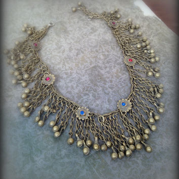 Vintage Kuchi Flower Necklace with Bells Kuchi Necklace Kuchi Jewelry Tribal Necklace with Flowers Metal Ethnic Kuchi Necklace Red Pink Blue