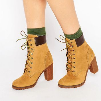 Timberland Glancy Beige 6in Heeled Boots