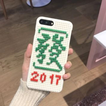 Fashion building block Chinese characters plastic Case Cover for Apple iPhone 7 7Plus 6 Plus 6 -171201