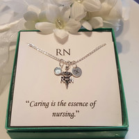 RN Registered Nurse Sterling Silver Necklace  Sterling Silver Initial Charm With Pearl or Birthstone