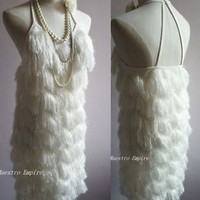 Fringe Flapper Dancer Charleston 1920s Art Deco Abbey Gatsby Short Dress
