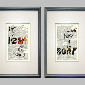 Leaf on the Wind Print Set on Vintage Book Pages, Serenity, Firefly, Quotes, SciFi, Fandom, Joss Whedon, Geek Love, Nerdy