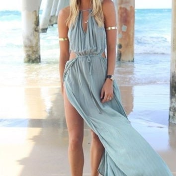 Breezy Blues Summer Dress, Swimsuit Cover up, Split Sides and Gorgeous.