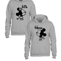 Hers and His Minnie, Mickey Art - Couple hoodie