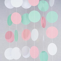 Pink Mint White Pastel Circle Garland Party Decoration Paper Dots Banner