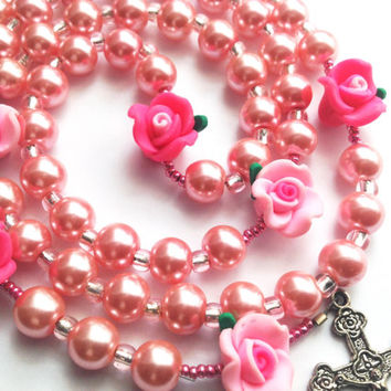 Bouquet of Pink Roses and Pearls Rosary handmade Rosary Pink Pearls