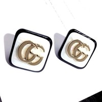 GUCCI Popular Women Simple Double G Letter Quadrilateral Earrings Accessories Jewelry