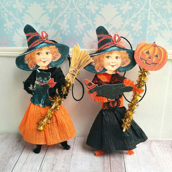 Halloween Witch Pipe Cleaner Chenille Figures Tree Ornaments Decorations Favors Vintage Style Handmade Gift Tags Crepe Paper Doll