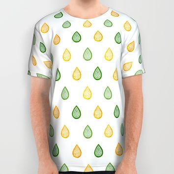 Yellow and green raindrops All Over Print Shirt by Savousepate