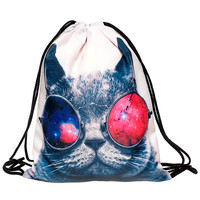Galaxy Cat Drawstring Backpack