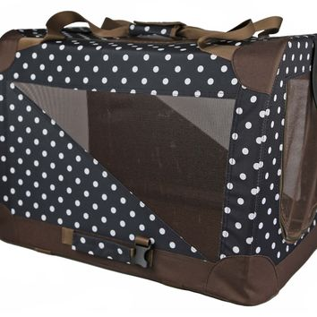 Folding Zippered 360 Vista View House Pet Crate - Blue/Brown Polka: X-Small