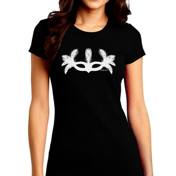 Masquerade Mask Silhouette Juniors Crew Dark T-Shirt by TooLoud