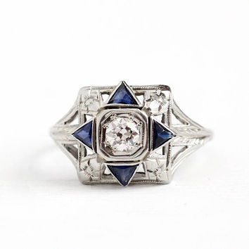 Antique 18k White Gold .26 CT Diamond Created Blue Sapphire Ring - Vintage Art Deco 1920s Size 7 Filigree Engagement Cluster Fine Jewelry