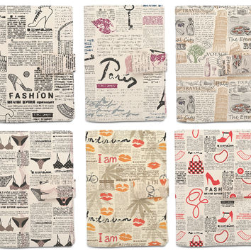 Retro Newspaper Pattern Beige Printed Canvas Passport Holder Cover Case WAS_11