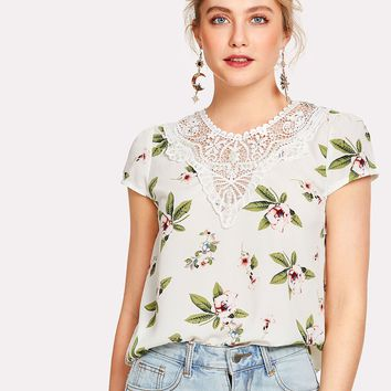 Lace Insert Cap Sleeve Floral Top