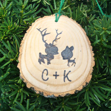Personalized Rustic Wood Christmas Ornament Burned Initials Deer Couple