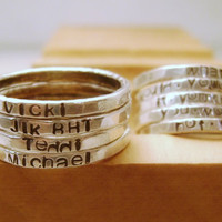 Fine Silver Personalized Stacking Ring   ONE Rustic by MixedMetals