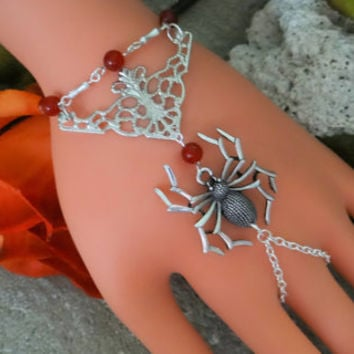 Spider Hand Harness, Halloween  Infinity Ring, Hand Harness, Slave Bracelet, Body Jewelry, Body Chain, Hand Jewelry