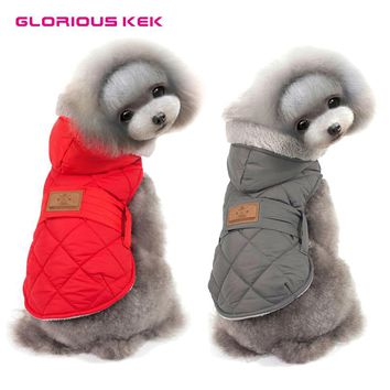 2017 Dog Vest Winter High Quality Warm Quilted Winter Dog Clothes Fur Hood Dog Coat Adjustable Elastic Belly Pitbull Jacket S-2L
