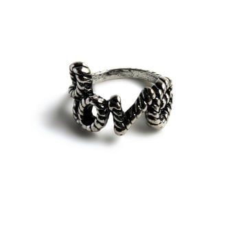 """Woven Love"" Silver With Black Accent Ring"