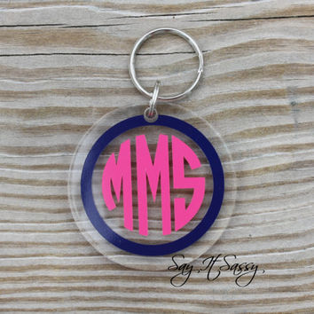 Circle Monogram Keychain Acrylic Personalized Key Chain