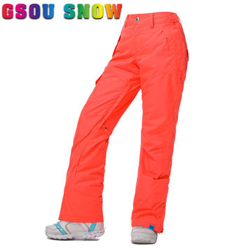 Gsou Snow New Snowboard Pants Women Waterproof Windproof High Quality Women Trouser Outdoor Snow Ski Pants Snowboarding Skiing