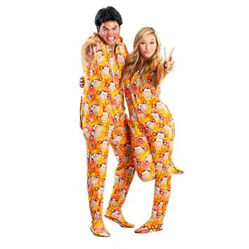 Monkey butt flap Footed Onesuit Pajamas