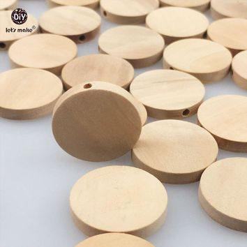 Let's make Natural Flat Wood Round beads 100pcs 20mm unfinished DIY  wood chips Circles Wooden Tags Labels Baby Teether
